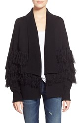 Leith Fringe Open Front Cardigan Black