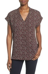 Pleione Women's High Low V Neck Mixed Media Top Burgundy Coffee