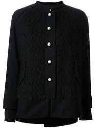 Muveil Textured Collarless Jacket Black