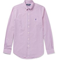 Polo Ralph Lauren Slim Fit Button Down Collar Checked Cotton Poplin Shirt Pink