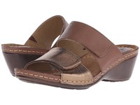 Softspots Panama Soft Spots Tan Bronze Calf Ionic Cow Metallic Women's Slide Shoes Brown