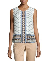 Laundry By Shelli Segal Sleeveless Printed Keyhole Blouse Majestic Blue
