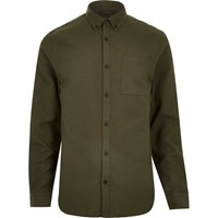 River Island Mens Green Flannel Long Sleeve Slim Shirt