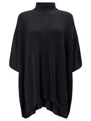 John Lewis Roll Neck Cashmere Poncho Charcoal