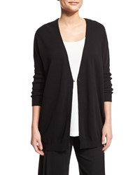 Joan Vass One Button Relaxed Cotton Cardigan Black