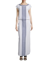 Tory Burch Embroidered Long Caftan Dress Women's New Ivory