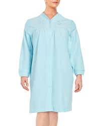 Miss Elaine Plus Snap Front Terry Robe Turquoise