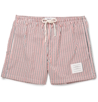 Thom Browne Striped Seersucker Mid Length Swim Shorts Red