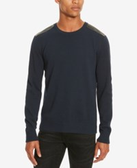 Kenneth Cole Reaction Men's Mixed Media Crew Neck Sweater Indigo