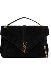 Saint Laurent Monogramme Large Quilted Suede Shoulder Bag Black