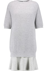 Brunello Cucinelli Metallic Cashmere Blend Crepe De Chine And Wool Blend Dress Light Gray