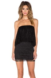 T Bags Losangeles Crochet Lace Ruffle Tube Dress Black