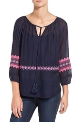 Vineyard Vines Women's Embroidered Cotton And Silk Peasant Top