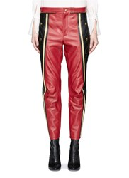 Chloe Colourblock Cow Leather Biker Pants Red