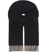 Sandro Reverso Reversible Wool Scarf Black Red