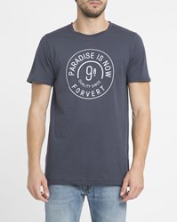 Forvert Navy Philippe Print Round Neck T Shirt Blue