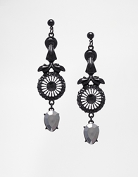 Asos Gothic Gem Drop Earrings Multi