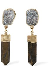 Dara Ettinger Gold Plated Stone Earrings Brown