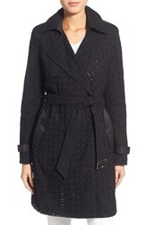 Women's Vera Wang 'Lucy' Eyelet Lace And Satin Trench Coat