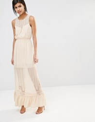 Vero Moda Sheer Lace Insert Maxi Dress With Ruffle Hem Ivory Cream White