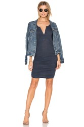 Lanston Ruched Henley Dress Blue