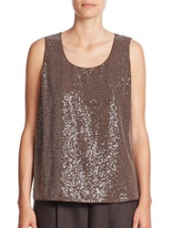 Lafayette 148 New York Cleo Sequined Front Silk Georgette Tank Chestnut Millstone