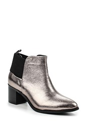 Lost Ink Aimon Mid Block Heel Ankle Boots Silver