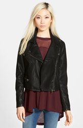 Blanknyc Quilted Faux Leather Moto Jacket Black