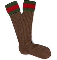 Gucci Striped Stretch Wool Blend Socks Green