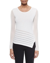 Elie Tahari Leia Long Sleeve Asymmetric Sweater W Sheer Detail