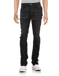 Hudson Jeans Zip Accented Slim Fit Straight Leg Black