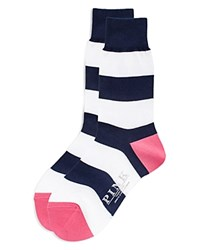 Thomas Pink Rugby Stripe Socks Navy White
