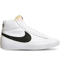 Nike Blazer Mid Top Grained Leather Trainers White Black