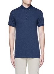 Scotch And Soda 'Home Alone' Cotton Knit Polo Shirt Blue