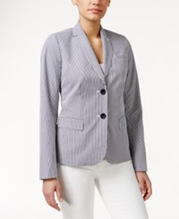 Charter Club Petite Two Button Striped Blazer Deepest Navy Combo