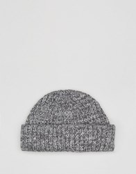Asos Mini Beanie In Grey Cotton Twist Grey