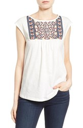 Women's Caslon Embroidered Cap Sleeve Knit Top Ivory Red Embroidery