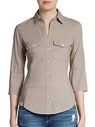 James Perse Ribbed Panel Button Front Top Taupe
