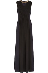 Tory Burch Meryl Pleated Wrap Effect Silk Crepe Gown