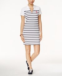 Tommy Hilfiger Marcie Striped Polo Dress White Navy