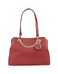Karl Lagerfeld Pebbled Leather Satchel Bordeaux