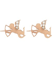 Aamaya By Priyanka Cupid's Bow 18Ct Rose Gold Plated And White Topaz Stud Earrings Rose Gold White Topaz