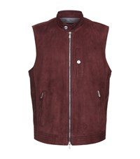 Brunello Cucinelli Suede Gilet Male Red