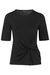 Topshop Tall Twist Front Tee Black