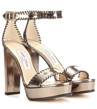Jimmy Choo Holly 120 Platform Patent Leather Sandals Metallic