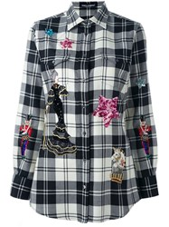 Dolce And Gabbana Embellished Patch Checked Shirt Black