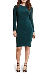 Lauren Ralph Lauren Plus Size Women's Faux Leather Trim Side Ruched Jersey Sheath Dress