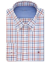 Tommy Hilfiger Men's Slim Fit Comfort Wash Check Dress Shirt Garnet