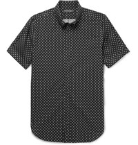 Alexander Mcqueen Button Down Collar Printed Cotton Poplin Shirt Black