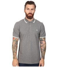 Fred Perry Slim Fit Twin Tipped Polo Grey Marl Ecru Men's Short Sleeve Knit Gray